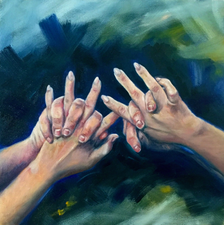 Study of hands - 50x50 - Oil on canvas